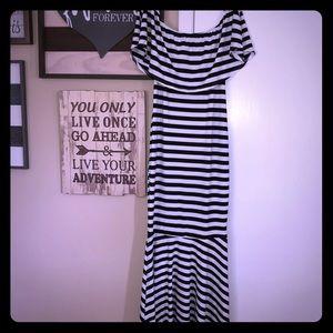 Dresses & Skirts - Black and White Striped Bodycon Mermaid Dress